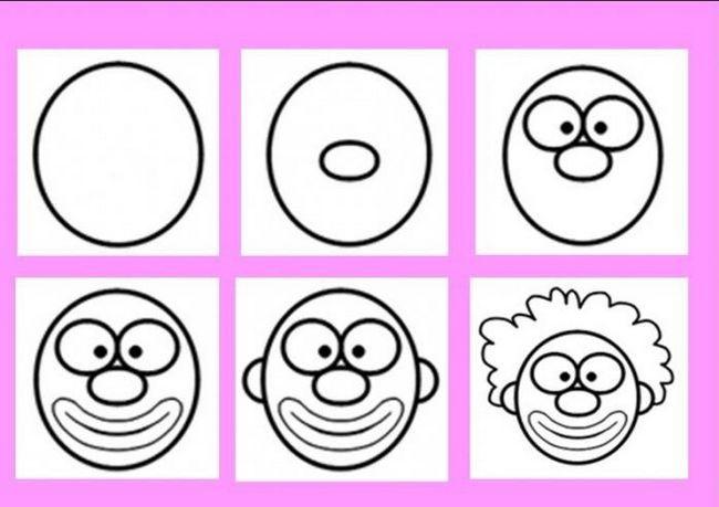 jak nakreslit klaun po etapách