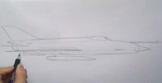 jak nakreslit vojenské letadlo