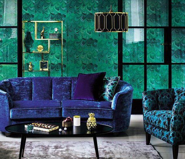Malachitová barva v interiéru. S jakou barvou je kombinován malachit?