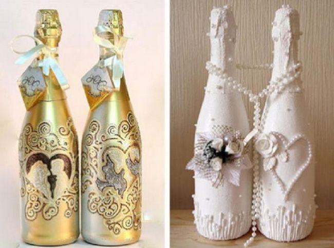 Dekorace svatebního šampaňského s vlastními rukama: foto