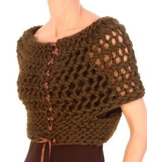 Tie bolero openwork pro dívky s jehlou na pletení